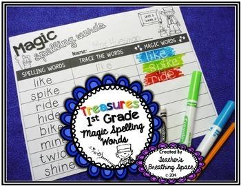 Treasures 1st Grade Spelling -- Magic Spelling Words -- 30 Word Work Pages