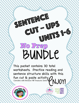 Treasures Spelling Practice for First Grade - A Sentence Cut Ups BUNDLE!!