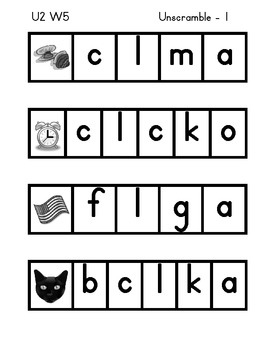 Treasures First Grade - Unit 2  Unscrambles for Weekly Words