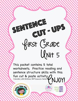 Treasures Spelling List Unit 5 A Sentence Cut Ups  Activity