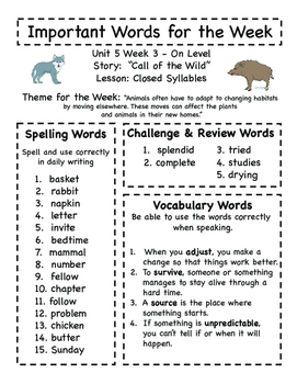 Treasures - Grade 3 - Unit 5 Spelling Word Lists