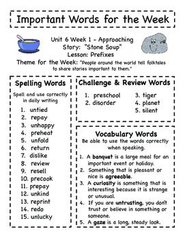 Treasures - Grade 3 - Unit 6 Spelling Word Lists