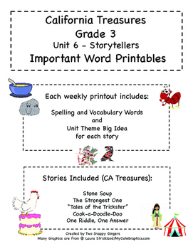 Treasures - Grade 3 - Unit 6 Spelling Word Lists