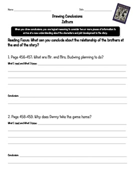 Zathura Drawing Conclusions Worksheet by Beached Teach | TpT