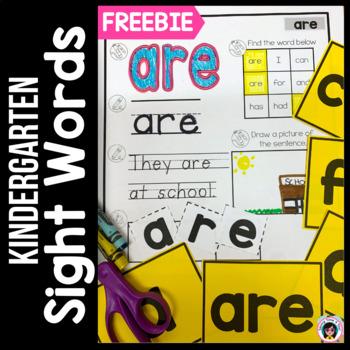Treasures FREEBIE High Frequency Words Kindergarten Cut & Paste Activity