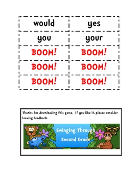 Treasures Reading 1st Grade High Frequency Word BOOM Game