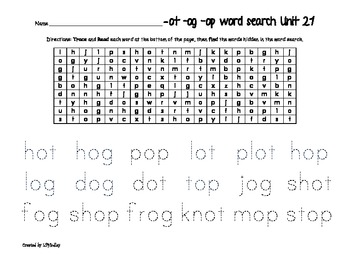 Treasures Reading Program First Grade  Word Searches Unit 2