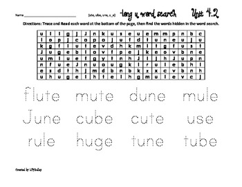 Treasures Reading Program First Grade  Word Searches Unit 4