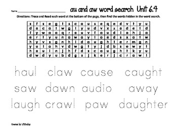 Treasures Reading Program First Grade  Word Searches Unit 6