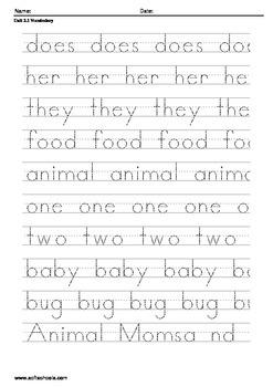 Treasures Reading Series 1st Grade 2.1 Animal Moms and Dads Handwriting