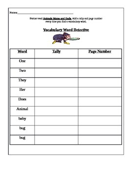Treasures Reading Series 1st Grade 2.1 Animal Moms and Dads Packet