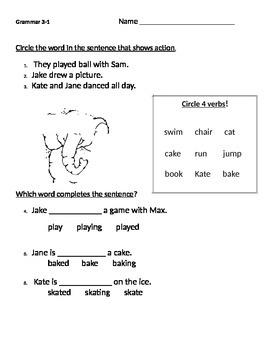 Treasures Reading Series 1st Grade 3.1 Kates Game Grammar Test