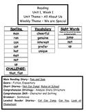 Treasures Reading Series First Grade Weekly Outline Unit 1