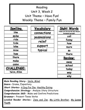 Treasures Reading Series First Grade Weekly Outline Unit 3