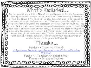 Treasures Reading Series Spelling Word Cards - Grade 2