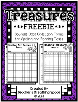 Treasures 2nd Grade - Student Data Forms for Spelling/Reading Tests *FREEBIE*
