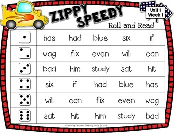 Treasures 2nd Grade - Zippy Speedy Roll And Read - Spelling / Sight Word Game
