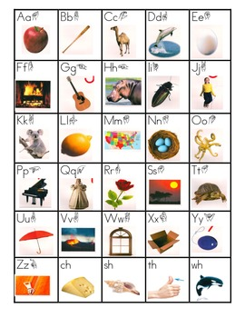 Treasures Sound Chart with ASL- Kindergarten