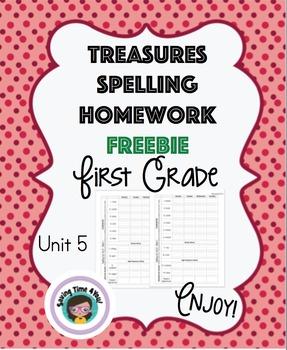 Treasures Spelling Homework FREEBIE Unit 5