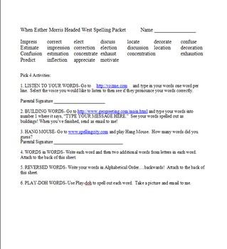Treasures Spelling Packets Fifth Grade