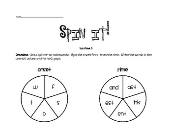 Treasures Spelling Spin It Game Units 1-6