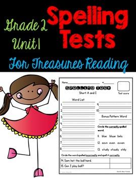 Treasures Spelling Tests Unit 1