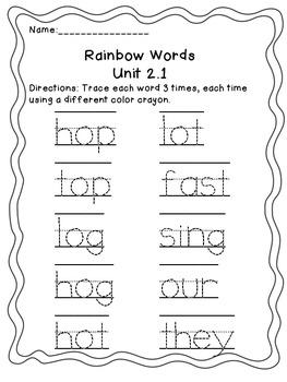 Treasures Spelling Unit 2.1 Rainbow Words