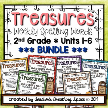 Treasures Spelling Word Lists and Resources --- 2nd Grade, Units 1-6 **BUNDLE**