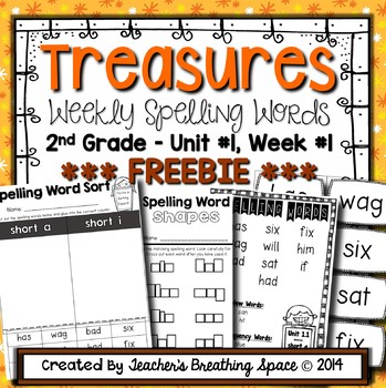 Treasures Spelling Word Lists and Resources --- Unit 1, Week 1 ***FREEBIE***
