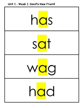 Treasures Spelling Words and Patterns (Smart Start and Unit 1) FREEBIE