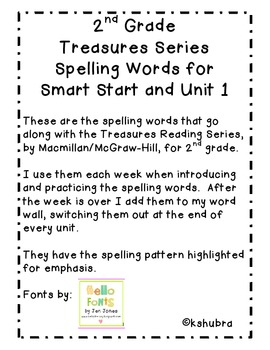 Treasures Spelling Words and Patterns (Smart Start and Uni