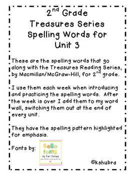 Treasures Spelling Words and Patterns (Unit 3)