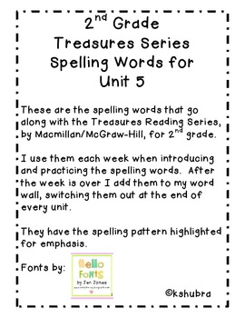 Treasures Spelling Words and Patterns (Unit 5)