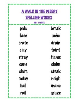 Treasures Spelling and Vocabulary Words