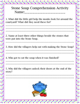 Treasures Stone Soup Comprehension and Vocabulary Activities