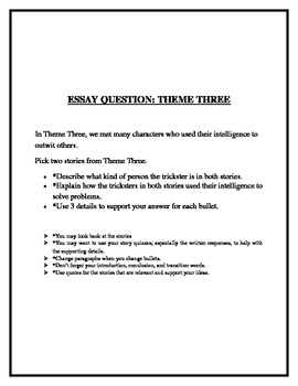 Treasures Theme 3 Grade 5 Essay Question Common Core