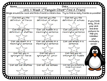 Treasures Third Grade 3 Vocabulary Penguin Chick Games Unit 1 Week 4