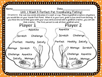 3 Treasures Third Grade Perfect Pet Unit 1 Week 5 Vocabulary Games