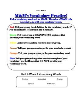 Treasures Third Grade Unit 4 Week 3 Washinton Weed Whackers Vocab M&M game