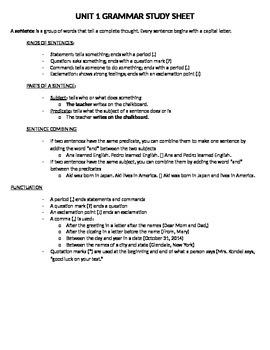 Treasures - Unit 1 Grammar Study Sheet