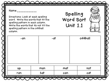Treasures Unit 1 Spelling Word Sort