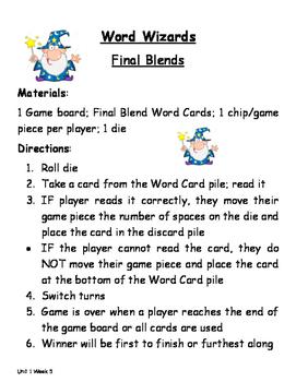 Treasures Unit 1 Week 5 Final Blends Game
