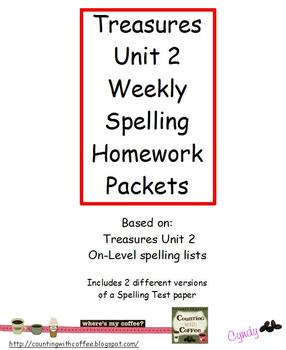 Treasures Unit 2 Spelling Homework Packets