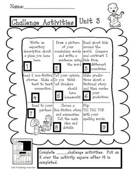 Treasures Unit 3 Challenge Activities