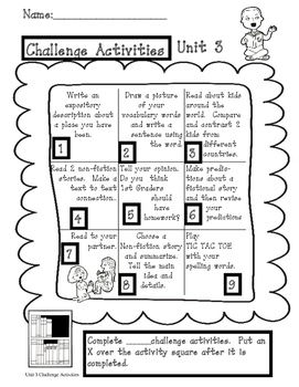 Treasures Unit 3 Challenge Activities