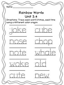 Treasures Unit 3 Rainbow Words/ Spelling 1st Grade