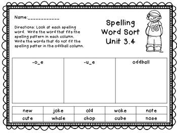 Treasures Unit 3 Spelling Word Sort/ 1st Grade