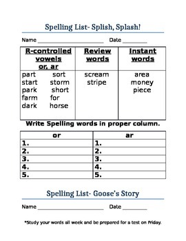 Treasures Unit 4 Spelling Lists
