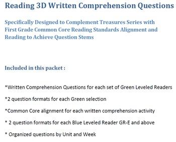 Mclass 3D Written Comprehension Questions for Treasures Unit 5