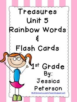 Treasures Unit 5 Spelling Rainbow Words & Flash Cards {1st Grade}